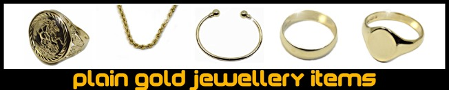 Plain gold jewellery items